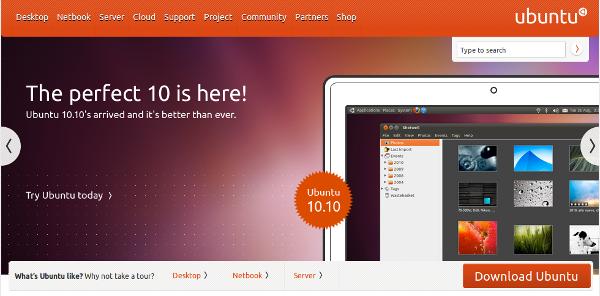 Ubuntu.com Homepage am 10. Oktober 2010